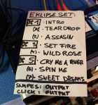 Eklipse Set List for North American Tour
